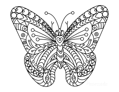 Butterfly Coloring Pages Intricate Doodle Adults