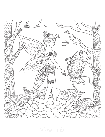 Butterfly Coloring Pages Intricate Fairy Butterfly Wings