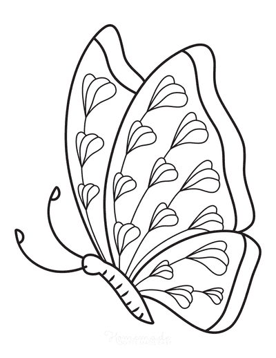 Butterfly Coloring Pages Lobes Side View