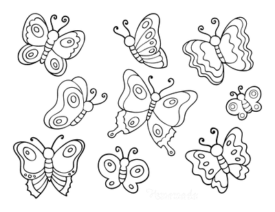 Butterfly Coloring Pages Page of Butterflies for Kids