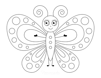 Butterfly Coloring Pages Pretty Spots Eyelashes for Kids