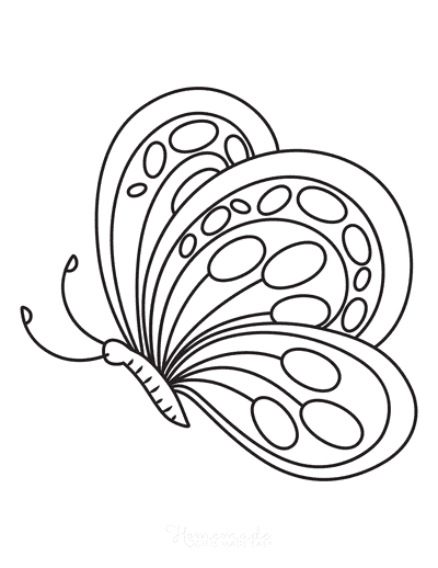 Butterfly Coloring Pages Rounded Side View