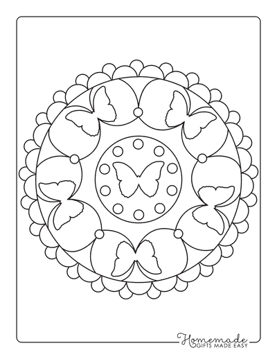 Butterfly Coloring Pages Simple Mandala for Kids