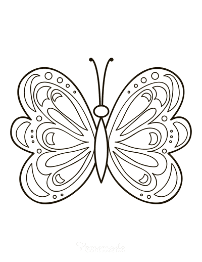 Butterfly Coloring Pages Simple Pattern to Color