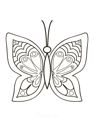 Butterfly Coloring Pages Simple Pattern to Color Eyespots