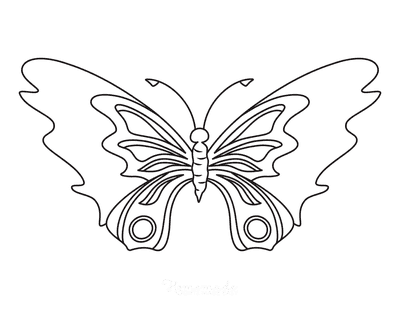 Butterfly Coloring Pages Simple Patterned