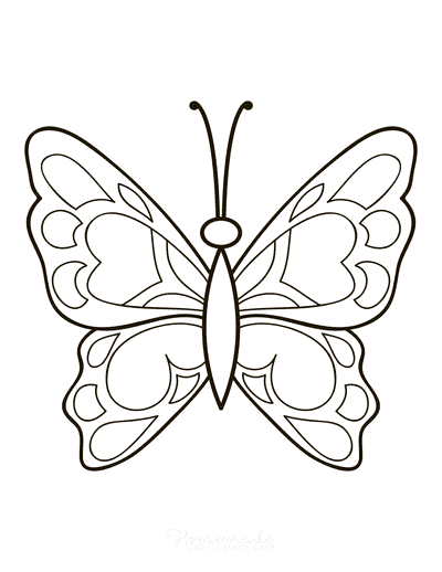 Butterfly Coloring Pages Simple Patterned Wings