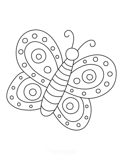 Butterfly Coloring Pages Simple Preschoolers