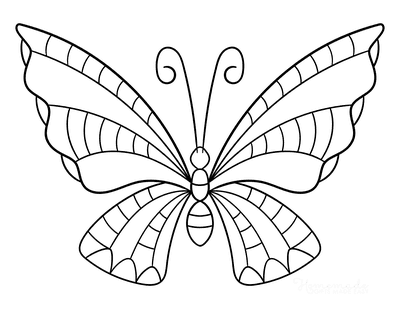 Butterfly Coloring Pages Simple Stripes to Color