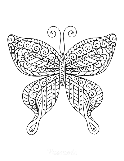 Butterfly Coloring Pages Swirly Pattern for Adults