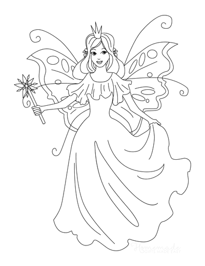 Butterfly Coloring Pages Winged Fairy