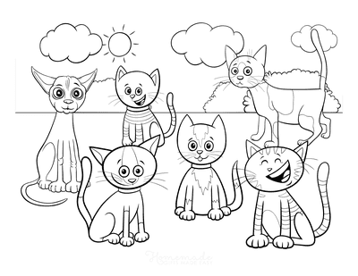 Cat Coloring Pages Cartoon Group of Cats
