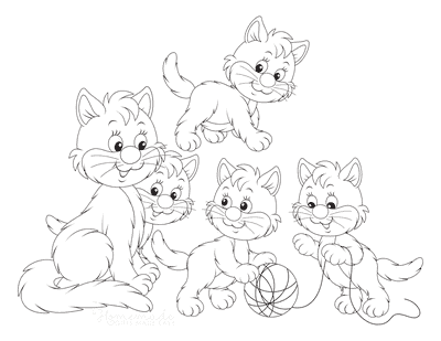 Cat Coloring Pages Cartoon Mother Kittens Cute