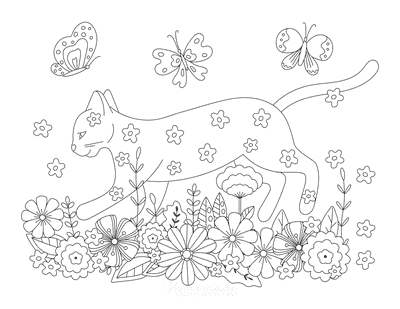 Cat Coloring Pages Cat in Flowers Detailed Drawing