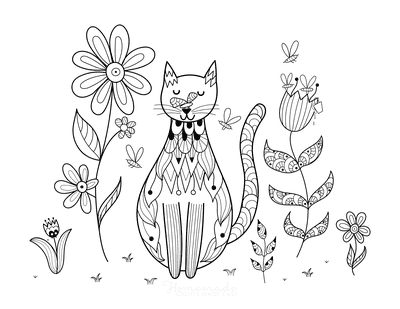 Cat Coloring Pages Cat in Garden Doodle