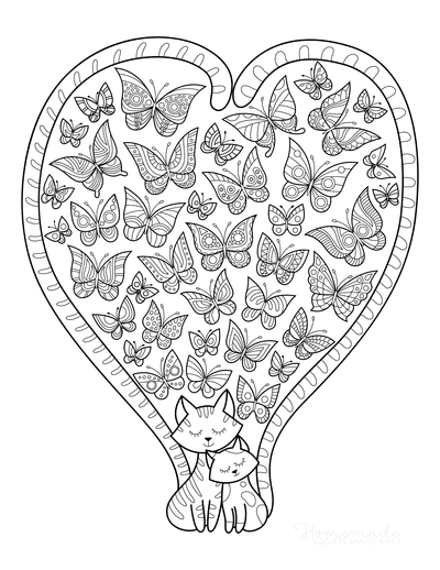 Cat Coloring Pages Cats Heart Tails Butterflies