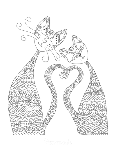 Cat Coloring Pages Cats in Love Intricate Pattern Adults