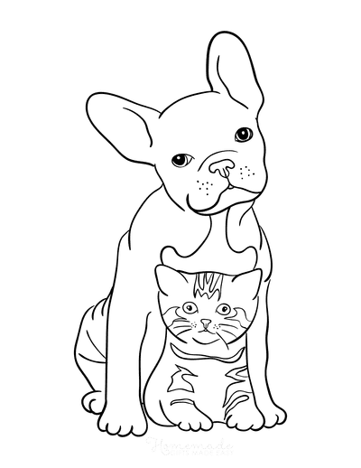Cat Coloring Pages Cut Dog With Kitten