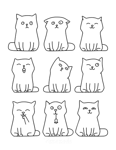 Cat Coloring Pages Cute Cartoon Cat Outlines