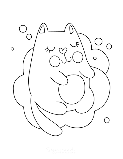 Cat Coloring Pages Cute Cartoon Cat Sleeping