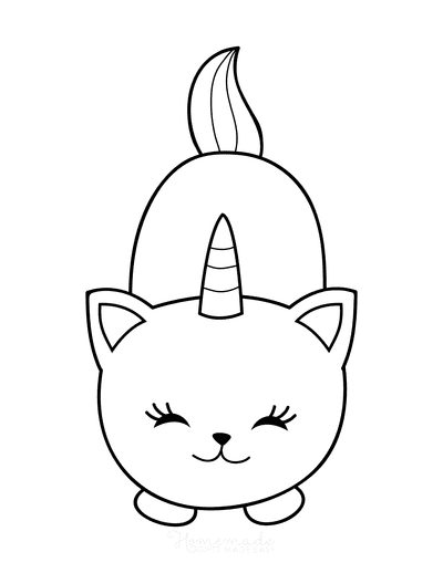 Cat Coloring Pages Cute Cartoon Caticorn 2