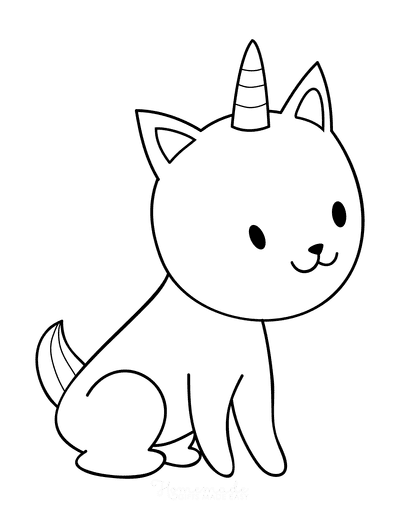 Cat Coloring Pages Cute Cartoon Caticorn 3