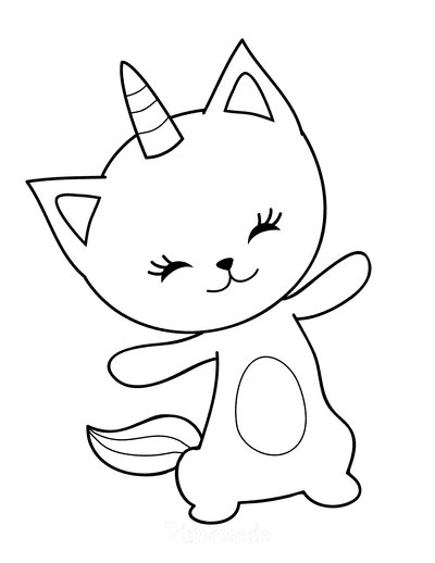 Cat Coloring Pages Cute Cartoon Caticorn
