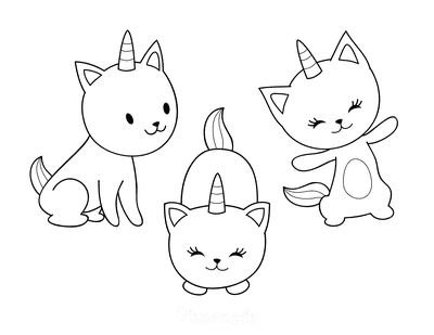 Cat Coloring Pages Cute Cartoon Caticorns