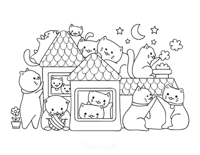 Cat Coloring Pages Cute Cartoon Cats Playing House