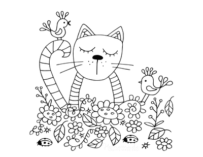 Cat Coloring Pages Cute Cat in Garden