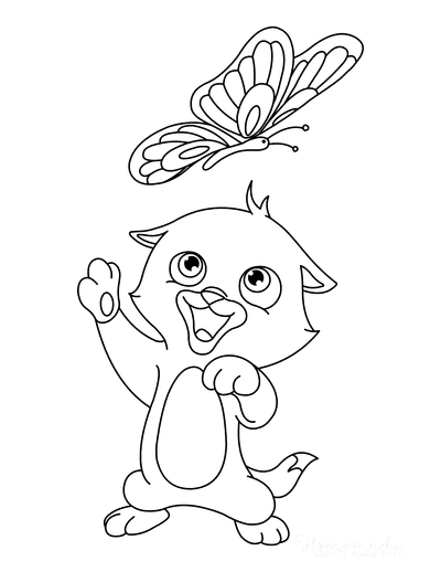 Cat Coloring Pages Cute Cat Playing With Butterfly