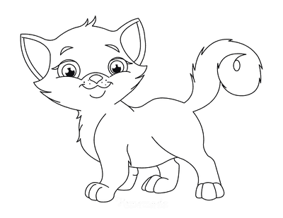 Cat Coloring Pages Cute Eyes Fluffy Tail