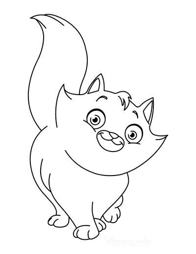 Cat Coloring Pages Cute Fluffy Cat Tail in Air