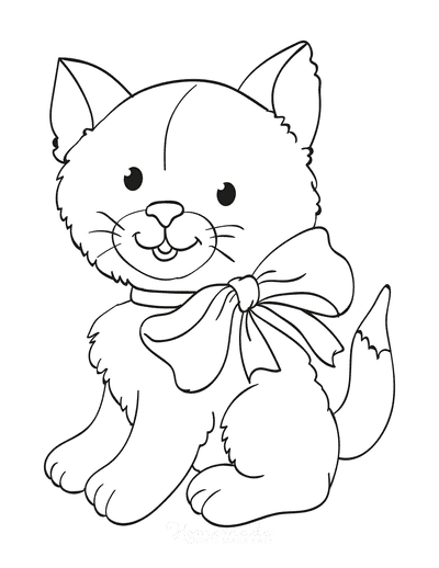 Cat Coloring Pages Cute Fluffy Cat With Bow