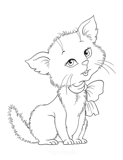 Cat Coloring Pages Cute Fluffy With Bow