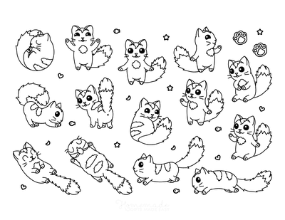 Cat Coloring Pages Cute Kawaii Cartoon Cats