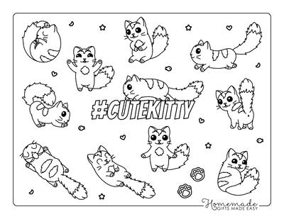 Cat Coloring Pages Cute Kawaii Cartoon Cats