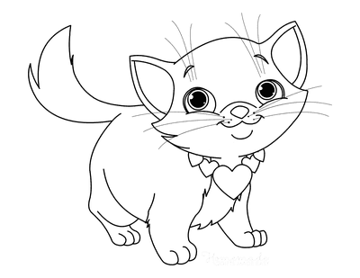 Cat Coloring Pages Cute Kitten Heart Necklace