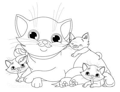 Cat Coloring Pages Cute Mother Cat With Kittens