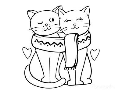 Cat Coloring Pages Cute Pair Cats in Love