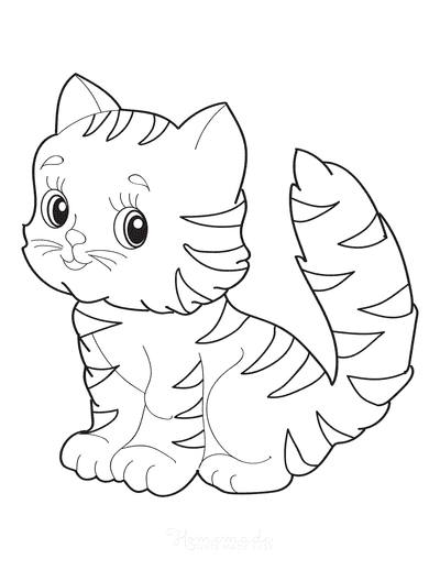 Cat Coloring Pages Cute Striped Kitten Simple