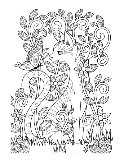 Cat Coloring Pages Detailed Cat Garden Butterfly
