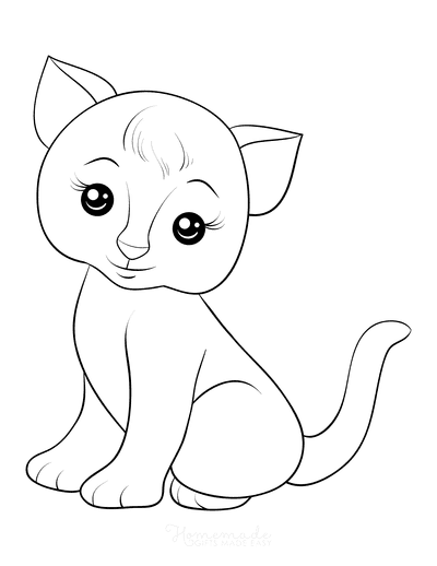 Cat Coloring Pages Detailed Cute Simple Kitten Outline