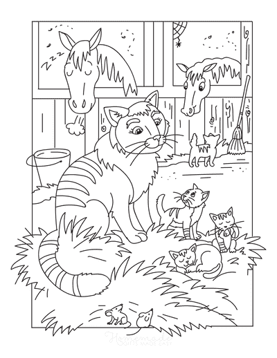 Cat Coloring Pages Farm Cat Kittens Mice Horses