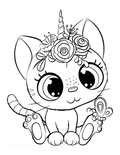 Cat Coloring Pages Farm Cute Caticorn Big Eyes