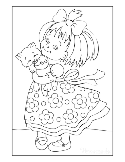 Cat Coloring Pages Farm Little Girl With Kitten