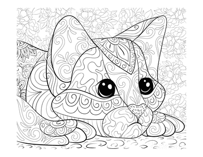 Cat Coloring Pages Intricate Pattern Cat Head for Adults