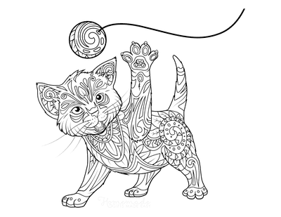 Cat Coloring Pages Kitten Playing Ball Detailed Pattern for Adults