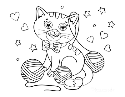 Cat Coloring Pages Kitten Wool Hearts Stars