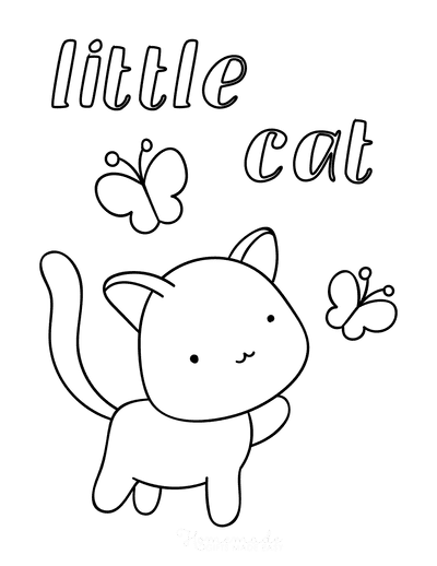 Cat Coloring Pages Little Cute Cat Butterfly